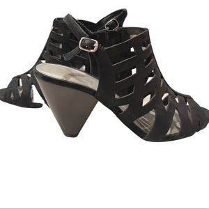 Coach and Four Black Cut Out Stacked Heel Shoes